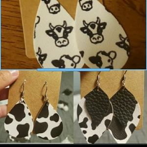 3 pairs faux leather earrings- cow bundle